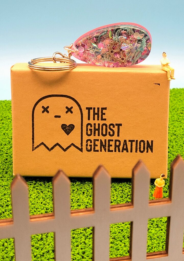 The Ghost Generation Steampunk Resin Keychain Product Photography